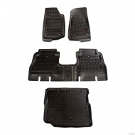 Kit Tapis de Sol Avant + Arrière + Coffre pour Jeep JK Unlimited 2011-17